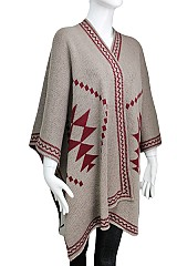 Knitted Aztec Pattern Thick Poncho