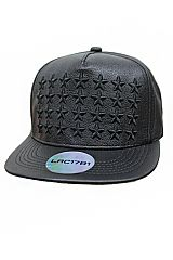 Infinite Embossed Stars Faux Leather Snap Back