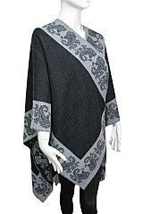 Paisley Pattern Both-Side Super Softness Cashmere Feel Big Poncho