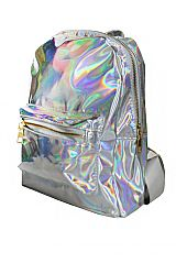 Hologram Thick Dome Zip Closure Backpack