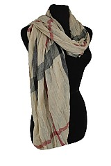 Plaid Designer Styled Wrinkled Fabric Super Softnees Scarf