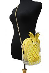 Pineapple Shaped PU And Clear Two In One Chain Crossbody Bag