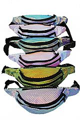 Rainbow Hologram Color Embossed Retro Two Way Zipper Fanny Pack Rave Festival