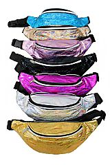 Metallic Hologram Wrinkled Faux Leather Double Zippered Fanny Pack