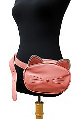 Hologram Eared Kitten Designed Faux Leather Belt Fanny Pack