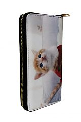Various Cat Printed Fashion Wallet with Golden Zipper Closure