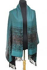 Majestic Floral Colorful Glittered Detailed Silky Pashminas