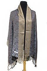 Luxurious Daisy floral With Contrasting Color Hem Silky Pashminas