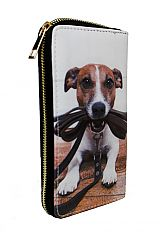 Various Dog Printed Fashion Wallet with Golden Zipper Closure