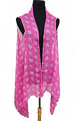 Rebel Heart And Skull Printed summer Bright Softness Kimono Cover Up