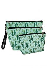 Animated Cactus Canvas 3 Piece Cosmetic Pouch Bags