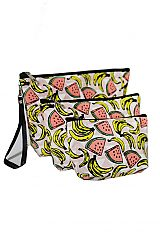 Summer Breeze Tropic Bananas 3 Piece Cosmetic Pouch Bags