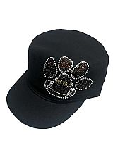 Football Patterned Paw Rhinestone On Cadet Cap