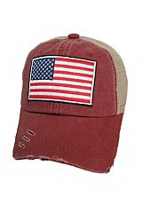 Distressed Mesh Back American Flag Patch Hand Crafted Strap Back Baseball Cap