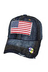 Distressed All American Flag Rough Jean Washed Strap Back Baseball Cap