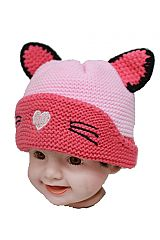 Baby Kitty Ear and Whiskers Knitted Beanies