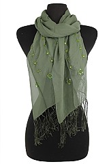 Chiffon Fringed Scarves with Sequin Accents