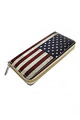 Vintage Dyed American Flag Full Zipper closure Wallet