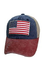 Distressed Two Tone Mesh Back American Flag Patch Hand Crafted Strap Back Baseball Cap