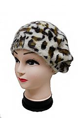 Leopard Patterned Wool Felt Brushed Winter Beret Hat