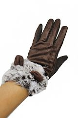 Suede Textured Soft Touch Screen Grip Furry bunny Ear Detailed Women Gloves