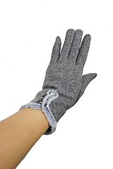 Stylish Minimalist Three Pearl Button Fur Lined Gloves