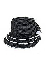 Crossed Back Visor Bill Two Tone Edge And Bow Bucket Sun Hat