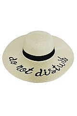 Do Not Disturb Embroidered Beautiful Petite Floppy Sun Hat