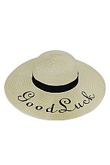 Good Luck Embroidered Beautiful Petite Floppy Sun Hat