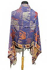 Wild Life Shimmer Threaded Elephant and Camel Scenery Printed Pashminas