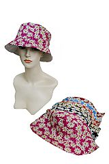 Over Sized Daisy Printed Bucket Hat