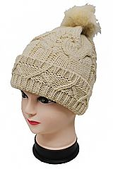 Zig Zag Knit Cuff Twisted Braid Pattern Beanies