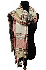 Multi Color Color Block Plaid Weaved Knit Scarves