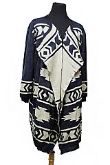 Sleeve Aztec Style Printed Softness Sweater