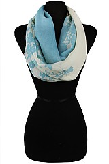 Block Soft Color and Floral Print Infinity Scarves