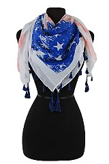 American Flag Design with Tassel Accents softness Scarf