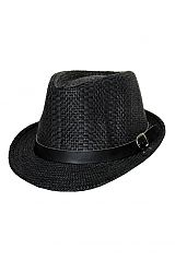 Thick and Narrow Straw Knit Fedora with Buckle Belt Band