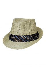 Thick and Narrow Straw Knit Fedora with Diagonal Stripe Patterned Band