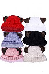 Thick Cable Knit Cat Ear Designed Beanies with Faux Fur Inner