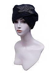 Rhinestone Feather Designed Thick Knit Turban Styled Beanie