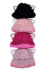 Kids Thick Cable Knit Cat Ear Designed Beanies with Faux Fur Inner