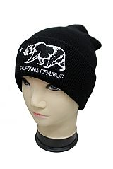 California Grizzly Bear Embroidered  Beanie