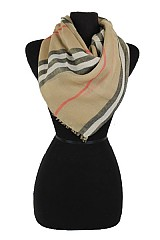 Plaid Pattern with Trim ends softness Regular Scarf