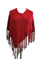 V-Neck Knitted with Long Fringe Style Thick Poncho