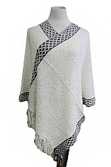 Net Design Double Layer Accent with Sequins Cashmere Feel Super Softness Poncho