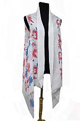 Splashed Water Colored Floral Blossoms Printed Kimono Vest Top