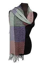 Block Checked Patterned  Knit Soft Felt Unisex Scarf with Fringes