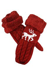 Reindeer Knitted Design Mittens with Faux Fur Cuffed Trim
