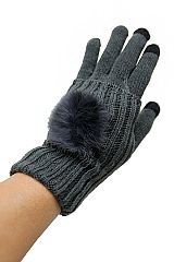Double Layered with Fur Striped Knit Text Phone Touch Grip Fur Lined Gloves