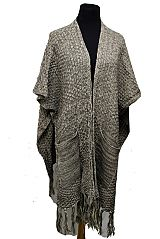 Pocketed Thick Knit Long Vest styled Poncho Mixed Grain Pattern